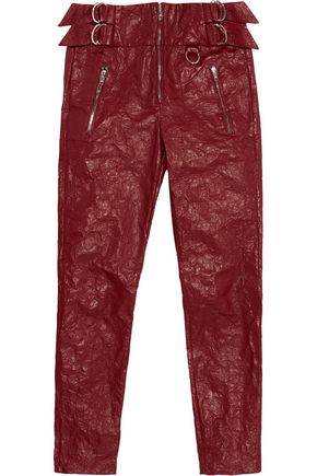 ISABEL MARANT Textured-leather slim-leg pants