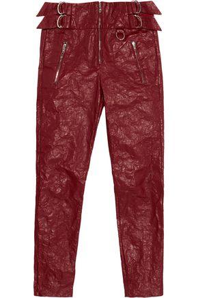 ISABEL MARANT Embellished textured-leather slim-leg pants