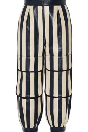 FENDI Cropped striped leather tapered pants