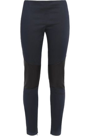 BELSTAFF Lydney leather paneled cotton-blend twill leggings