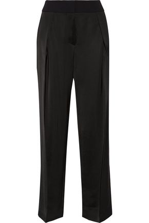 VICTOR ALFARO Crepe-trimmed silk-blend wide-leg pants