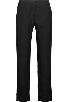 BALMAIN Satin-trimmed crepe straight-leg pants