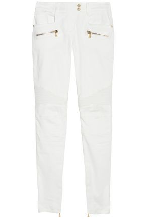 BALMAIN Cotton-blend low-rise slim-leg pants