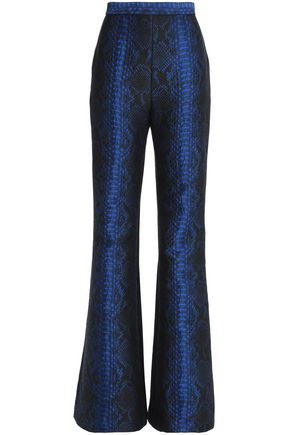 BALMAIN Snake-effect jacquard flared pants