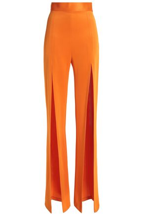 BALMAIN Split-front stretch-ponte flared pants