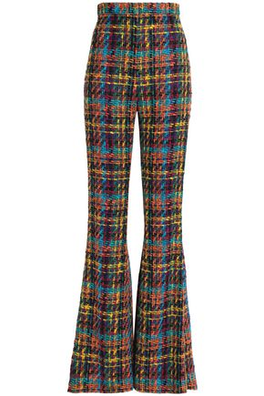 BALMAIN Cotton-blend tweed flared pants