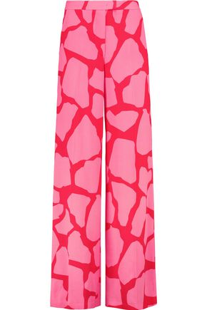 MSGM Printed crepe wide-leg pants