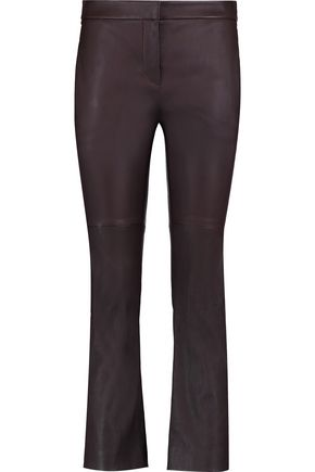 BRUNELLO CUCINELLI Cropped leather slim-leg pants