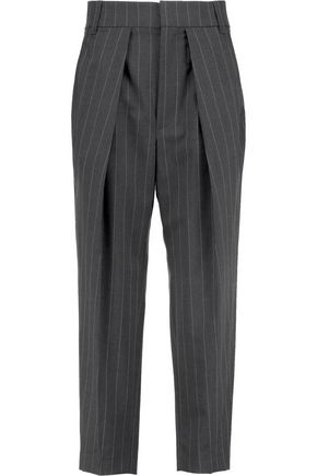 BRUNELLO CUCINELLI Cropped pinstriped wool-blend twill pants