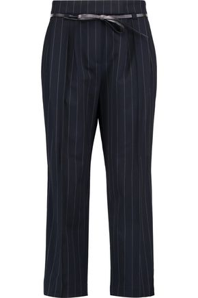 BRUNELLO CUCINELLI Belted pinstriped wool-blend crepe pants
