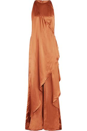 BALMAIN Asymmetric draped satin maxi dress