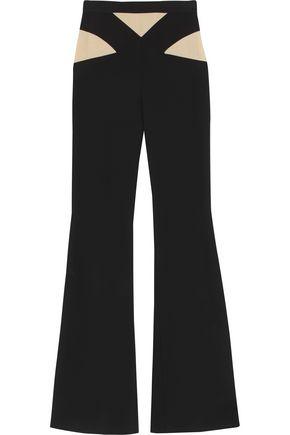 BALMAIN Mesh-paneled crepe wide-leg pants