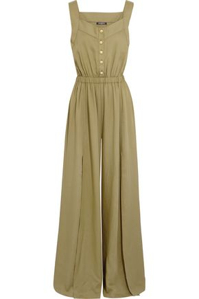 BALMAIN Split-front gathered crepe jumpsuit