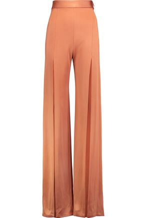 BALMAIN Split-front satin wide-leg pants