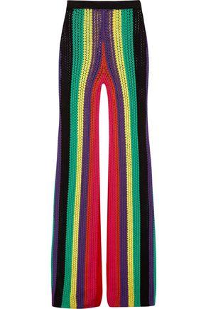 BALMAIN Striped open-knit flared pants