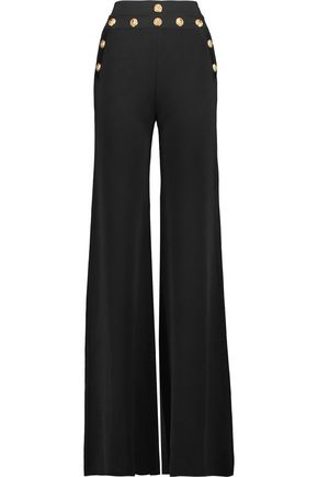 BALMAIN Embellished stretch-knit wide-leg pants