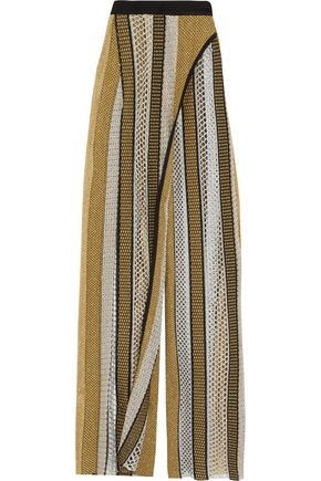 BALMAIN Layered metallic open-knit wide-leg pants