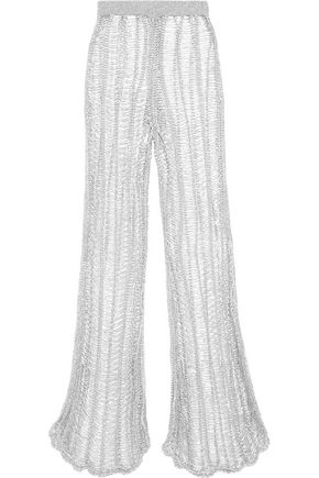 BALMAIN Metallic open-knit wide-leg pants