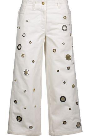 KENZO Eyelet-embellished denim culottes