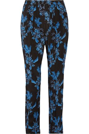 STELLA McCARTNEY Pleated floral-print silk crepe de chine tapered pants