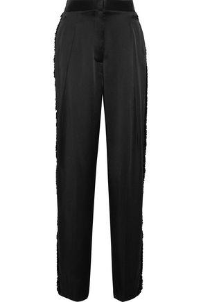 STELLA McCARTNEY Damica frayed satin wide-leg pants