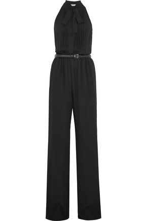 MICHAEL KORS COLLECTION Pussy-bow pleated silk-crepe jumpsuit