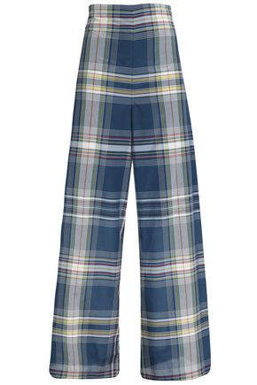 ROSETTA GETTY Checked cotton-blend wide-leg pants