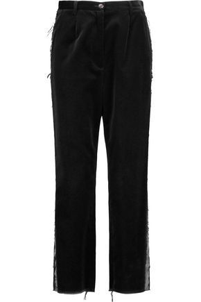MM6 MAISON MARGIELA Satin-trimmed velvet straight-leg pants