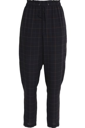THEORY Checked silk straight-leg pants