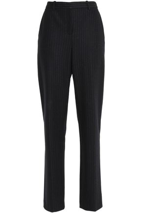 THEORY Pinstriped wool and cotton-blend straight-leg pants