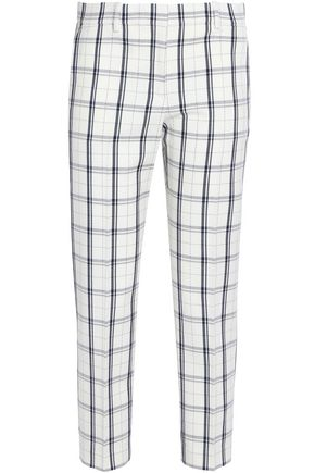 THEORY Checked wool-blend tapered pants