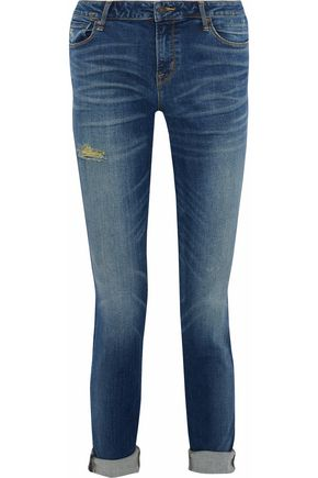 MARC BY MARC JACOBS Distressed faded high-rise slim-leg jeans