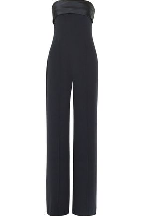 ADAM LIPPES Satin-trimmed crepe jumpsuit
