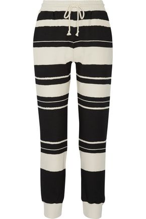SOLID & STRIPED Striped cotton-jersey pants