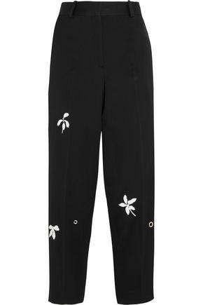 JONATHAN SAUNDERS Daisy appliquéd wool-gabardine wide-leg pants