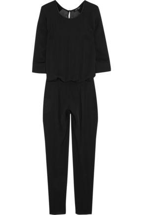BLK DNM Satin-trimmed silk-chiffon jumpsuit