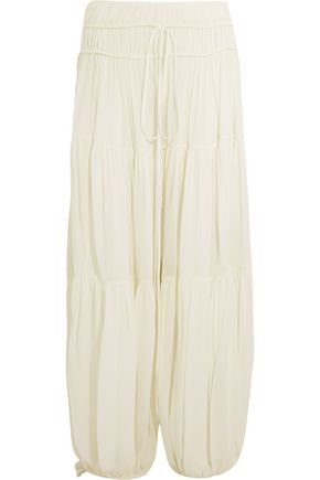 CHLOÉ Tiered crepe wide-leg pants