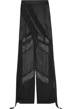 GIVENCHY Wide-leg pants in black satin, lace and chiffon