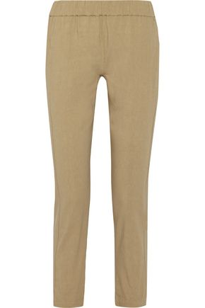 THEORY Korene cropped stretch linen-blend tapered pants