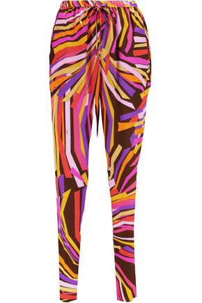 EMILIO PUCCI Printed silk-chiffon tapered pants