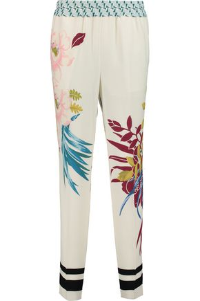 ETRO Printed silk-piqué tapered pants