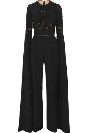 ELIE SAAB Embellished lace-paneled crepe jumpsuit
