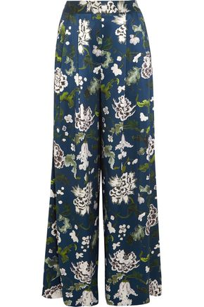 ADAM LIPPES Floral-print silk-charmeuse wide-leg pants