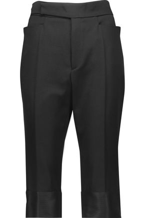 MAISON MARGIELA Cropped silk-trimmed wool-faille straight-leg pants