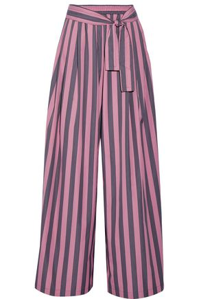 TOME Striped cotton-poplin wide-leg pants