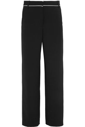TIBI Spectator silk-trimmed woven wide-leg pants