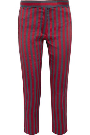ANN DEMEULEMEESTER Cropped striped satin and twill slim-leg pants