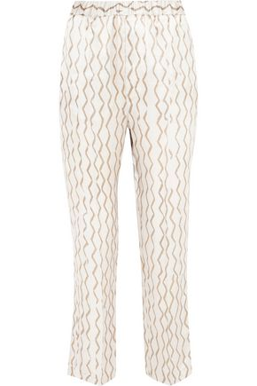 ISABEL MARANT Sonia printed hammered silk-satin tapered pants