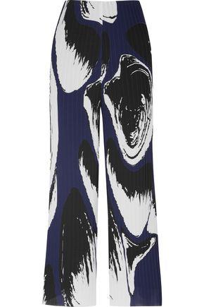 SOLACE LONDON Claudia printed plissé-georgette wide-leg pants