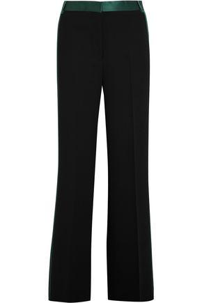 VICTORIA, VICTORIA BECKHAM Silk satin-trimmed crepe wide-leg pants